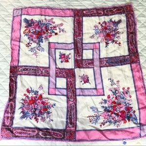 Vintage floral and paisley square scarf